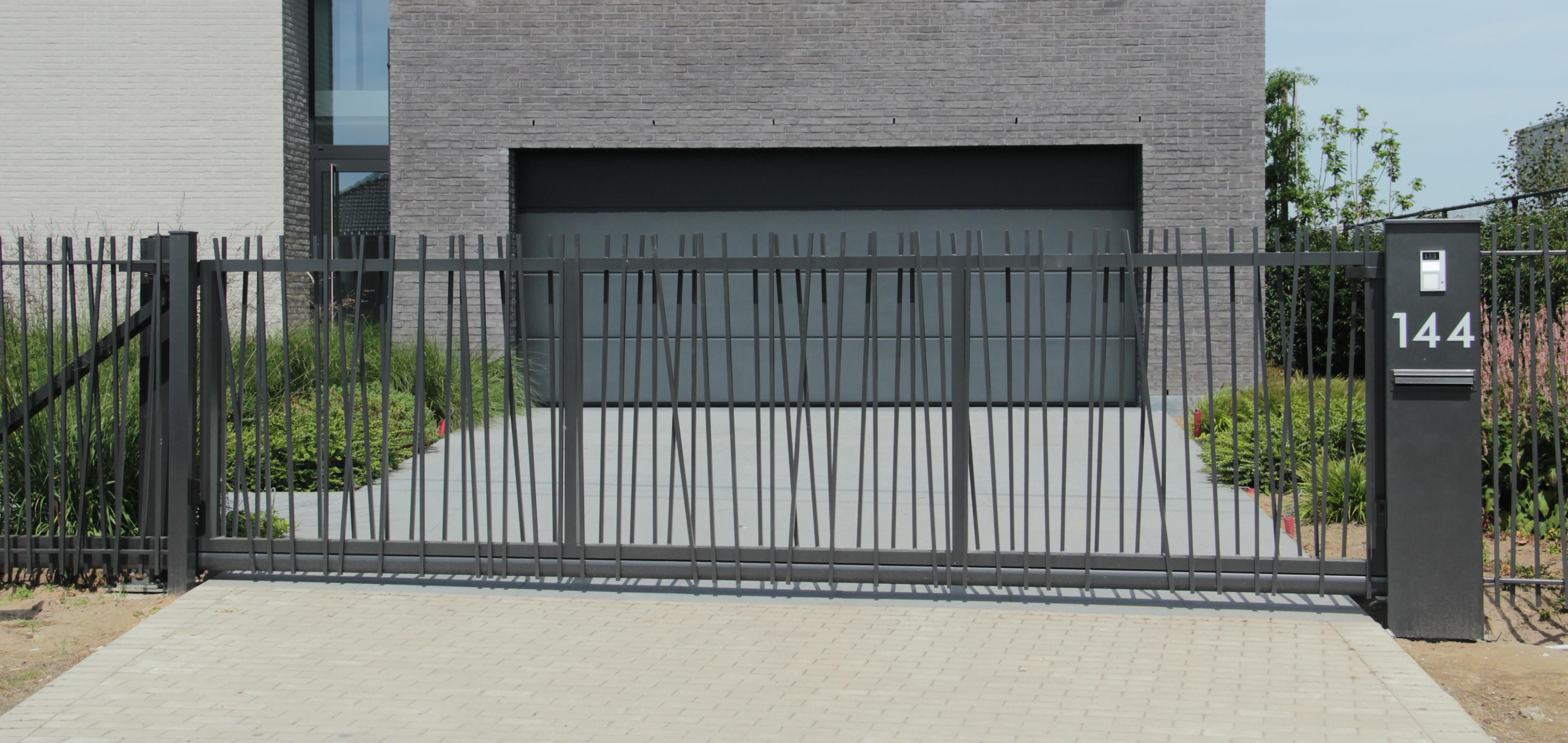 schuifpoort aluminium mikado - Poorten op maat voor particulieren en bedrijven